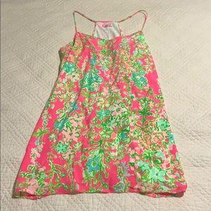 Lilly Pulitzer dusk strappy silk slip dress.